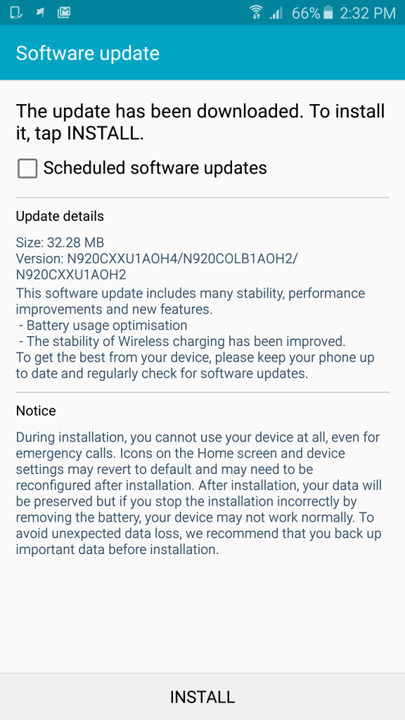 Samsung Galaxy Note 5 Software update