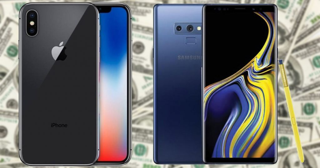 samsung galaxy Note 9 iPhone X