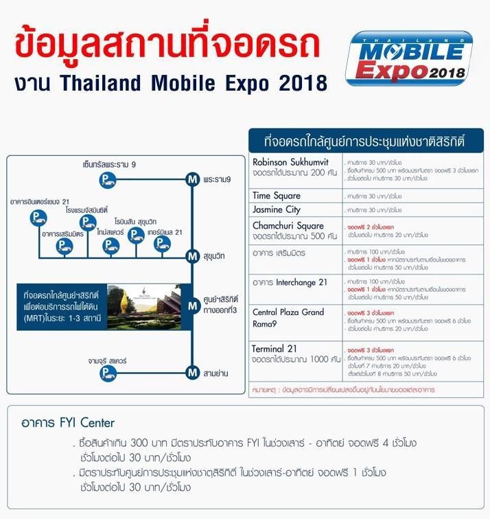 ข้อมูลสถานที่จอดรถใกล้ศูนย์การประชุมแห่งชาติสิริกิติ์ Mobile Expo 2018